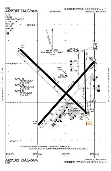 Southern Wisconsin Rgnl Janesville, WI (KJVL): AIRPORT DIAGRAM (APD)