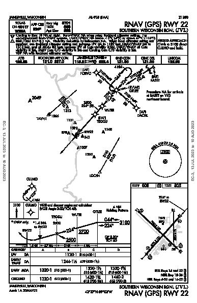 Southern Wisconsin Rgnl Janesville, WI (KJVL): RNAV (GPS) RWY 22 (IAP)