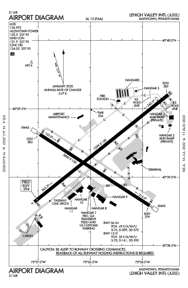 Lehigh Valley Intl Airport (Allentown, PA): KABE Airport Diagram
