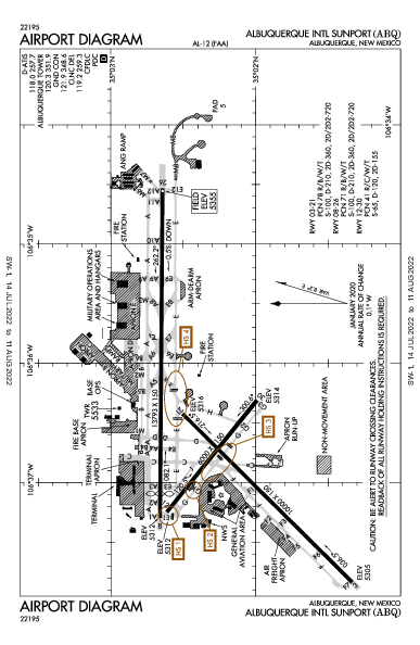 Albuquerque Intl Sunport Airport (Albuquerque, NM): KABQ Airport Diagram