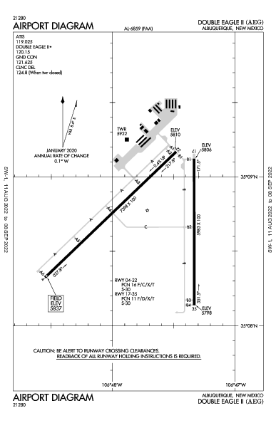 Double Eagle Ii Airport (Albuquerque, NM): KAEG Airport Diagram