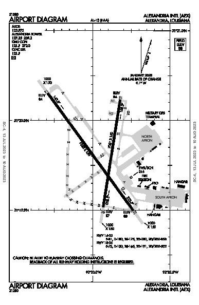 Alexandria Intl Airport (Alexandria, LA): KAEX Airport Diagram