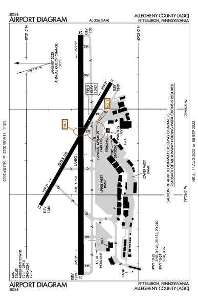 Allegheny County Airport (Pittsburgh, PA): KAGC Airport Diagram
