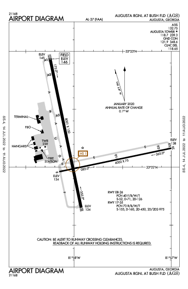 Augusta Regional Airport (Огаста, Джорджия): KAGS Airport Diagram