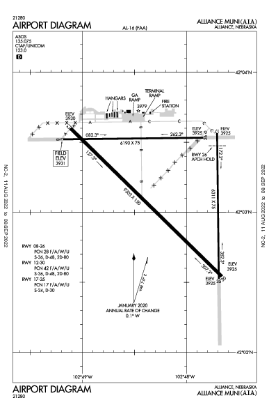 Alliance Muni Airport (Alliance, NE): KAIA Airport Diagram