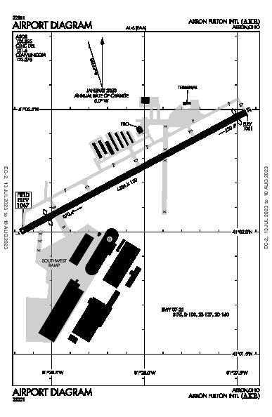 Akron Fulton Intl Airport (애크런, 오하이오 주): KAKR Airport Diagram