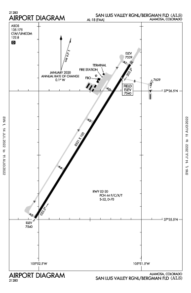 San Luis Valley Rgnl Airport (Alamosa, CO): KALS Airport Diagram