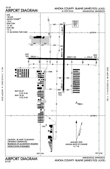 Anoka Co-Blaine Airport (Minneapolis, MN): KANE Airport Diagram