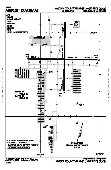 Anoka Co-Blaine Airport (Minneapolis, MN): KANE Airport Diagram