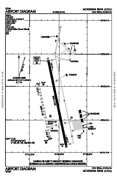 Acadiana Rgnl Airport (New Iberia, LA): KARA Airport Diagram