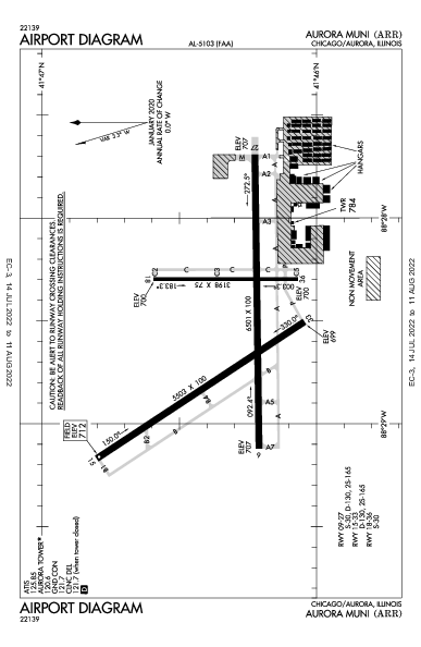 Aurora Muni Airport (Chicago/Aurora, IL): KARR Airport Diagram