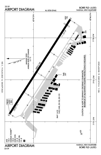 Boire Fld Airport (Nashua, NH): KASH Airport Diagram