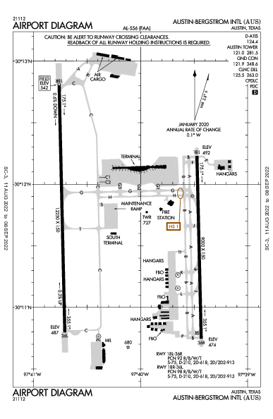Остин Бергстром Airport (Austin, TX): KAUS Airport Diagram