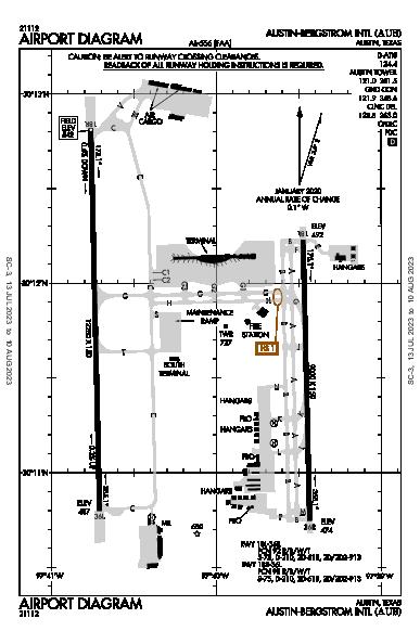 Int'l di Austin-Bergstrom Airport (Austin, TX): KAUS Airport Diagram