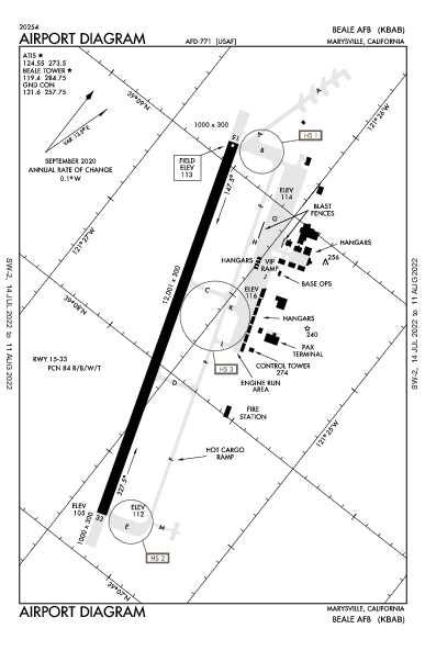 Beale Afb Airport (Marysville, CA): KBAB Airport Diagram