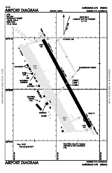 Barksdale Afb Airport (Bossier City, LA): KBAD Airport Diagram