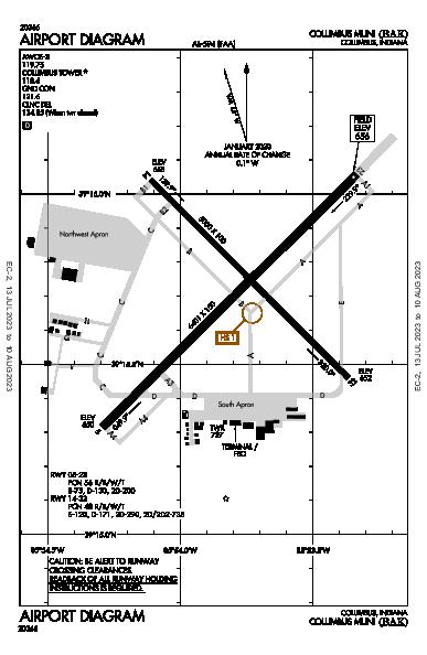 Columbus Muni Airport (Columbus, IN): KBAK Airport Diagram