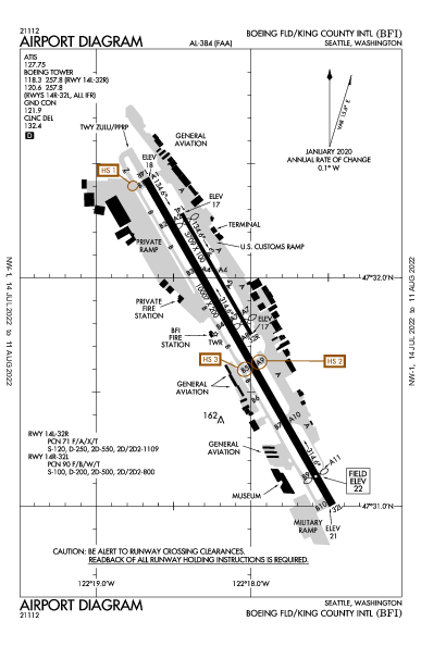 キング郡国際空港 Airport (Seattle, WA): KBFI Airport Diagram