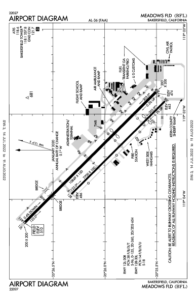 Meadows Field Airport (Bakersfield, CA): KBFL Airport Diagram