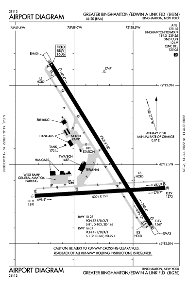 Binghamton Airport (빙엄턴): KBGM Airport Diagram
