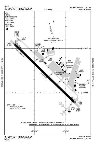 Bangor Intl Airport (班戈, 缅因州): KBGR Airport Diagram