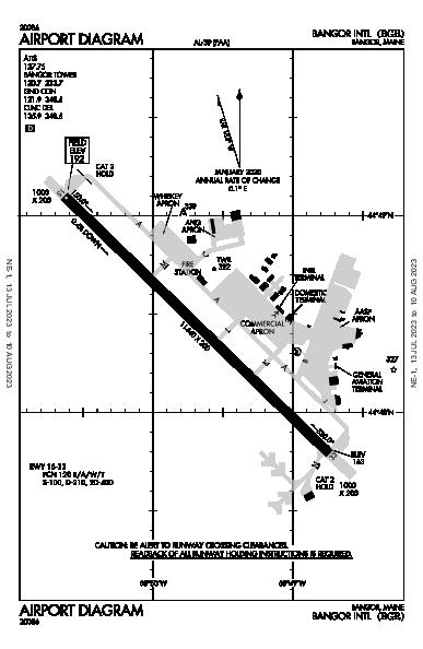 Int'l de Bangor Airport (Bangor, ME): KBGR Airport Diagram