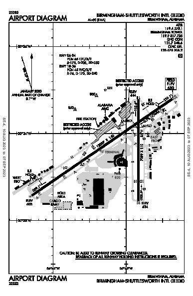 伯明翰-沙特尔斯沃思国际机场 Airport (伯明翰, 亚拉巴马州): KBHM Airport Diagram