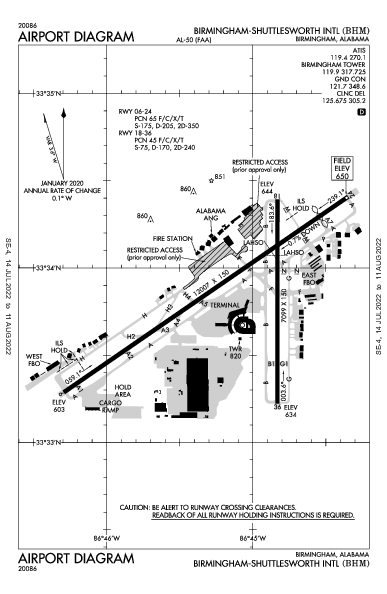 Birmingham-Shuttlesworth Intl Airport (ברמינגהאם, אלבמה): KBHM Airport Diagram