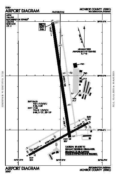 Monroe County Airport (Bloomington, IN): KBMG Airport Diagram