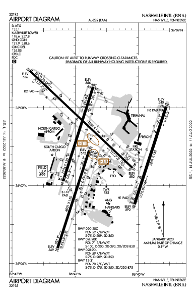 Nashville Intl Airport (ناشفيل، تينيسي): KBNA Airport Diagram
