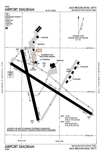 Jack Brooks Rgnl Airport (Beaumont/Port Arthur, TX): KBPT Airport Diagram