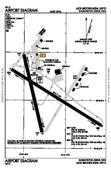 Jack Brooks Rgnl Airport (Beaumont/Port Arthur, TX): KBPT Airport Diagram