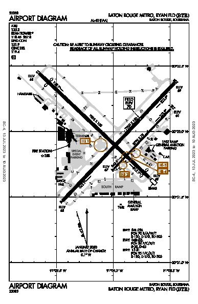 Baton Rouge Metro Airport (Baton Rouge, LA): KBTR Airport Diagram