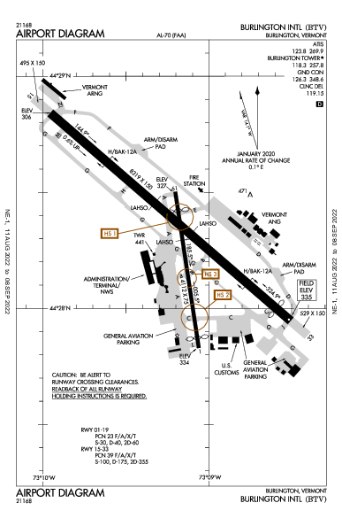 Burlington Intl Airport (Burlington, VT): KBTV Airport Diagram