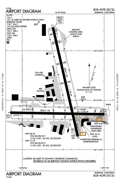ボブ・ホープ空港 Airport (Burbank, CA): KBUR Airport Diagram