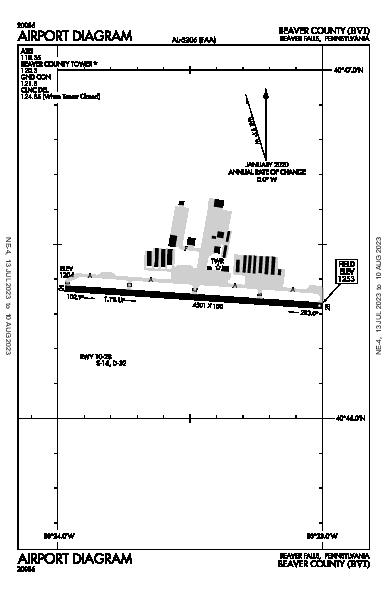 Beaver County Airport (Beaver Falls, PA): KBVI Airport Diagram