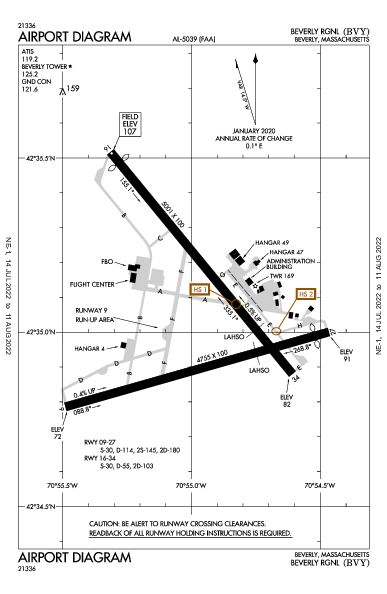 Beverly Muni Airport (Beverly, MA): KBVY Airport Diagram