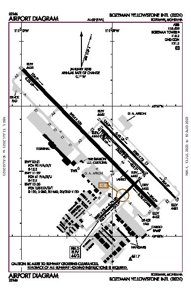 Bozeman Yellowstone Intl Airport (Bozeman, MT): KBZN Airport Diagram