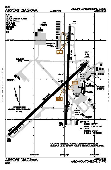 régional de Akron-Canton Airport (Akron, OH): KCAK Airport Diagram
