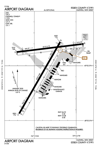 Essex County Airport (Caldwell, NJ): KCDW Airport Diagram