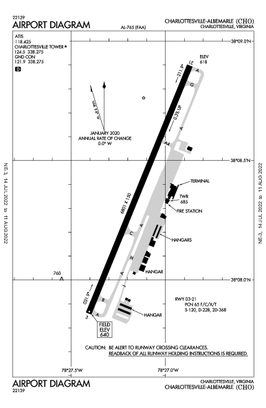 Charlottesville-Albemarle Airport (Charlottesville, VA): KCHO Airport Diagram