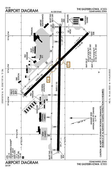 The Eastern Iowa Airport (Cedar Rapids, IA): KCID Airport Diagram