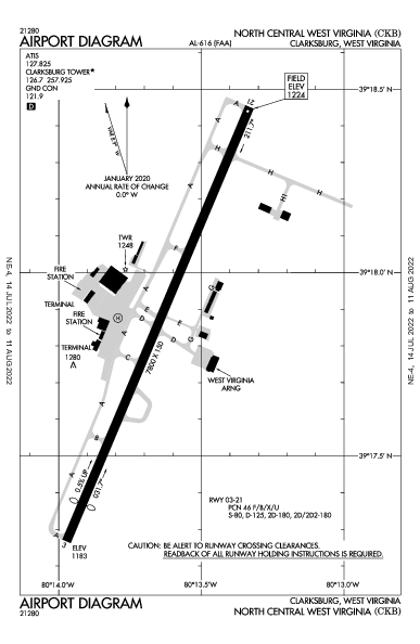 North Central West Virginia Airport (Clarksburg, WV): KCKB Airport Diagram