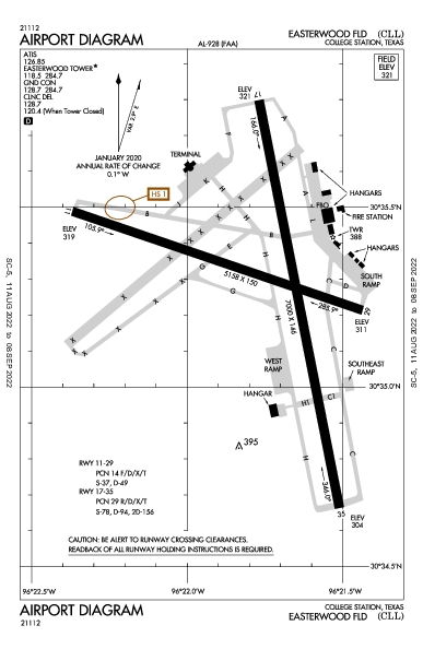 Easterwood Fld Airport (College Station, TX): KCLL Airport Diagram