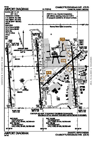 Int'l de Charlotte-Douglas Airport (Charlotte, NC): KCLT Airport Diagram