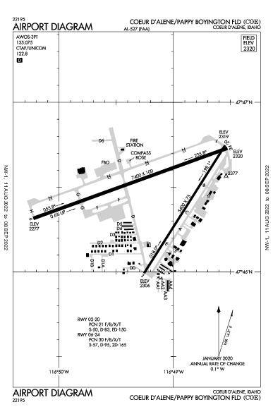Coeur D'Alene - Pappy Boyington Field Airport (Coeur D'Alene, ID): KCOE Airport Diagram