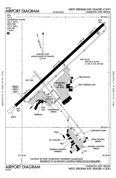 Yeager Airport (Charleston, WV): KCRW Airport Diagram