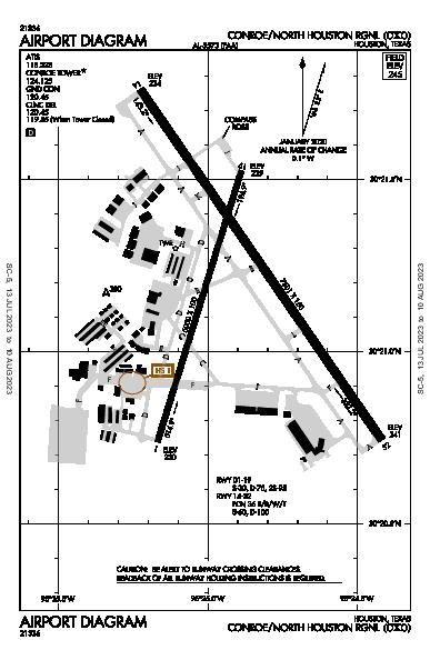 Lone Star Executive Airport (Houston, TX): KCXO Airport Diagram
