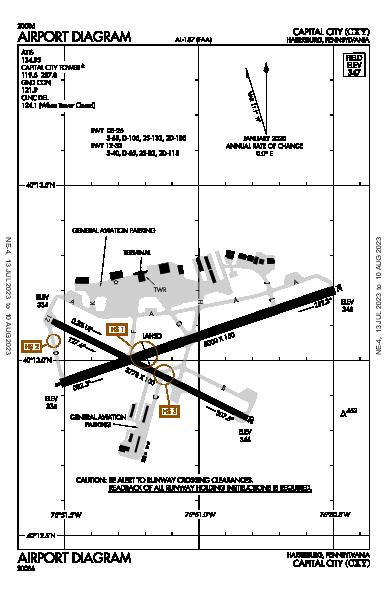 Capital City Airport (Harrisburg, PA): KCXY Airport Diagram