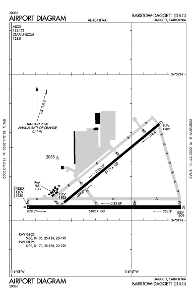 Barstow-Daggett Airport (Daggett, CA): KDAG Airport Diagram